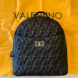 valentino cosmo stud black leather backpack